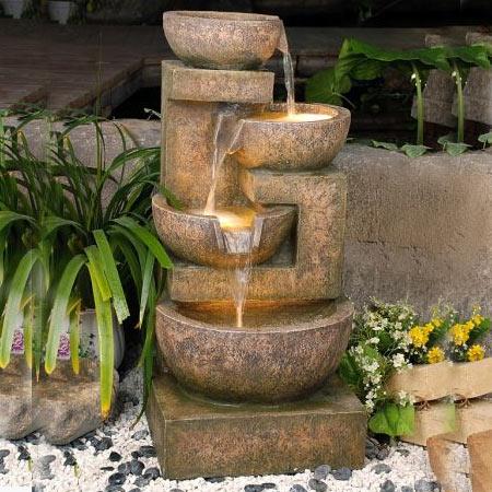 4 granite copper bowls water feature