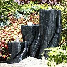 New York Terrazzo Triple Column Water Feature With LED Lights