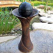 Rattan Pillar and Ball Water Feature with LED Light