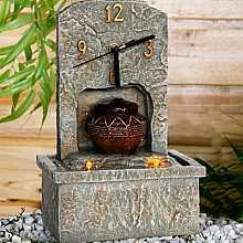 Stone Effect Clock Table Top Indoor Water Feature