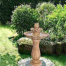 Solar Flower on Pillar Water Feature