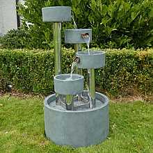 4 Circular Cups on Stainless Steel Columns Water Feature