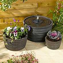 Smart Solar Genoa Water Feature and Planter Set (Black Bronze)