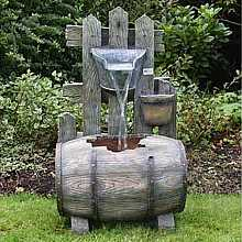 Barrel with Fence Water Feature
