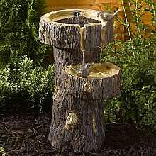 Treetrunk Birdbath by Smart Solar