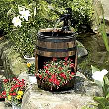 Solar Powered Wooden Barrel with Pump And Planter Garden Water Feature With LED