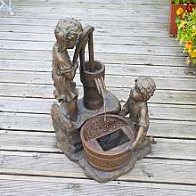 Boy & Girl Water Pump Fountain Water Feature