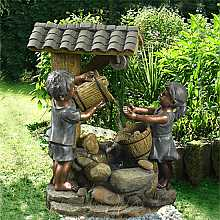 Children at Tiled Roof Well Water Feature
