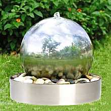 Aqua Moda Aterno5 45cm Stainless Steel Sphere Garden Water Feature with Steel Base and LED Light