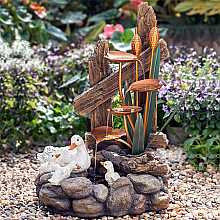 Solar Powered Happy Duck Family at Plants Water Feature