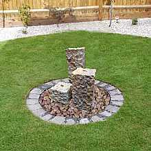 Solar Powered Rainbow Sandstone Three Column Water Feature with LED Light