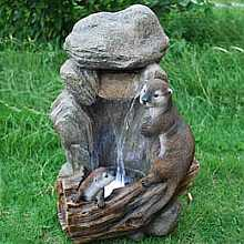 Medium Fall with 2 Otters Water Feature