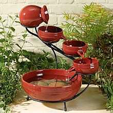 Smart Solar Eros Red Ceramic Cascade Garden Water Feature