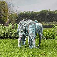 Metal Silhouette Elephant Light by Smart Solar