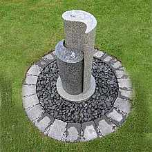 Solar Powered Aqua Yin Yang by AquaModa Granite Water Feature With LED Light