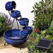 Smart Solar Neptune Blue Ceramic Solar Cascade Water Feature