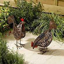 Smart Solar Powered Garden Metal Scroll Hens (twin pack)