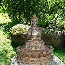 Brown Buddha Crystal Ball Water Feature