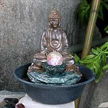 Buddha With Crystal Ball Table Top Indoor Water Feature