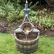 2 Wooden Barrels with Pump Water Feature