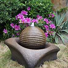 Brown Ribbed Sphere on Base Water Feature