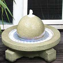 Sandstone Sphere on Circular Base