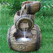 3 Stacked Barrels Water Feature