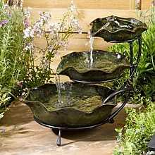 Smart Solar Frog Lilypad Green Ceramic Cascade Garden Water Feature