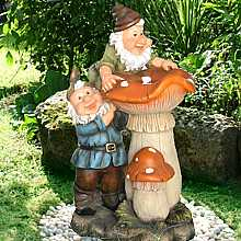 2 Gnomes on Toadstools Water Feature