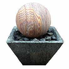 Solar Powered Rainbow Sandstone Sphere Water Feature In Granite Base