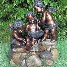 3 Bronze Cherubs at Rock Pool Water Feature