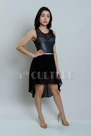 Metallic Top Belted High-Low Dress