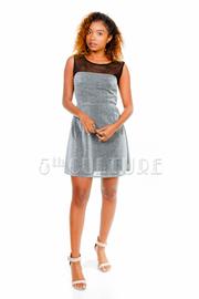 Glittered Mesh Top A-line Dress