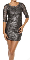 Metallic Lace Overlay Bodycon Dress