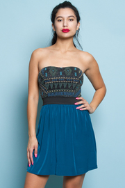 Beaded Tribal Print Sweetheart Dress