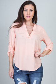 Solid V Neck Hi-Low Blouse