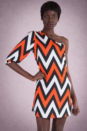 One Sleeve Chevron Dress
