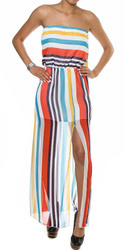 Striped High Slit Maxi Tube Dress