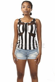 Sleeveless Striped Mesh Insert Top