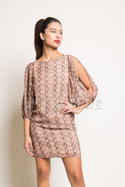 Open Sleeve Snake Print Dress