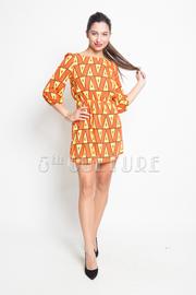Stiched Triangle Print Mini Dress