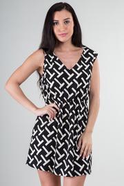 Printed V-Neck Stretch Waist Dress