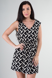 Printed V-Neck Stretch Waist Dress