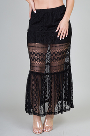 Lace Double Layer Maxi Skirt