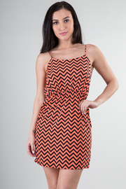 Chevron Print Stretch Waist Dress