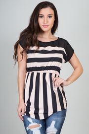 Striped High Waist Band Dress