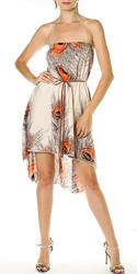 Peacock Hi-Low Tube Dress