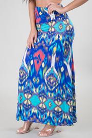 Ethnic Ikat Print Maxi Skirt