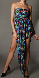 Diamond Abstract Print Tube Top Tear Drop Silky Dress