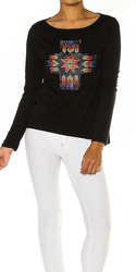 Cross Studded Long Sleeve Top